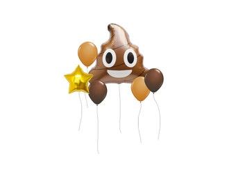 """Poop Emoji Balloon, Jumbo 24"""" Poop Balloon, Kids Party Balloon, Birthday Party Balloon, Party Decor, Love Balloon, Emoji Balloon,"""