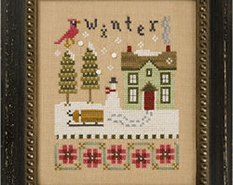 Lizzie Kate Flip-It F141 - Winter - Counted Cross Stitch Chart Pattern with Buttons