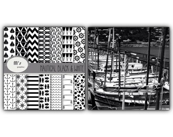 Digital Paper Pack Nautical Backgrounds Black and White. 14 patterned digital papers + 10 clip art