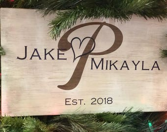 Personalized Family Initial Name Wooden Sign