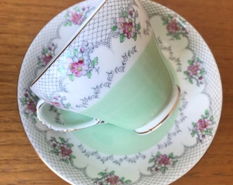 Royal Grafton Vintage Teacup and Saucer, Pastel Mint Green Tea Cup and Saucer with Pink Roses and Grey Lace, Bridal Shower Wedding Gift