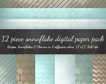80% OFF SALE Snowflake Digital Scrapbook Paper - 12 Piece Kraft Snowflake Paper Chevron & Stripes - Antique Vintage Snowflakes Rustic Paper