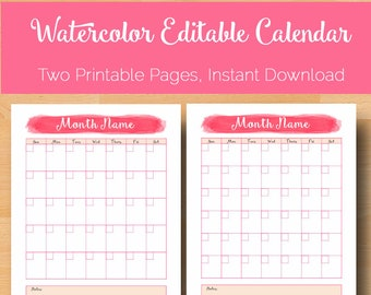 Editable Monthly Calendar, Monthly Printable Calendar Pages, Editable Printable Planner Pages, Planner Inserts, Letter Size Instant Download