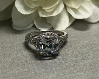 Cushion Cut White Sapphire Ring With Diamond Halo Set In 14k White Gold #5493