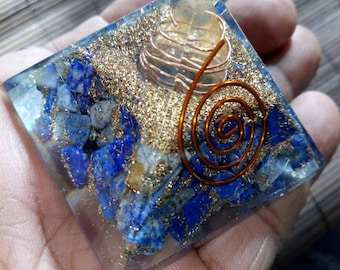 Orgone Pyramid Lapis lazuli stone with pyraite and copper 50mm