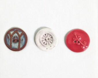 Ceramic Buttons, Large, Set of Three, Destash