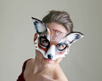 Red Fox Leather Mask - Ready to Ship - Halloween Mask - Animal Masquerade Mask - Fox Costume - Animal Mask - Red Fox - Halloween Costume