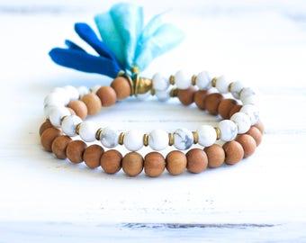 Howlite Mala Bracelet, Sandalwood Mala Beads, Howlite Bracelet, Marble Bracelet, Yoga Jewelry, Boho Jewelry, Prayer Beads