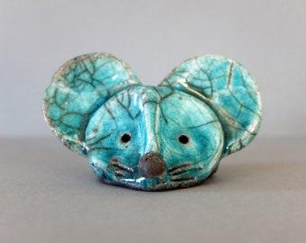 Turquoise raku mouse