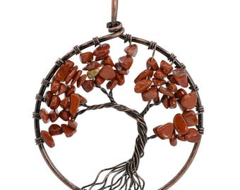 50mm Red jasper Vintage Style Tree Of Life Handmade Natural Gemstone Pendant
