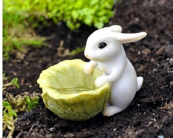 Miniature Garden - Bunny With Cabbage Planter - Miniature Fairy Garden Supplies