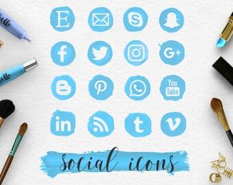 BLUE WAVE, suivez les icônes de médias sociaux & coup de pinceau, taches bleu peint à la main, maquillage rond Social icônes, les fichiers PNG Transparent, BUY5FOR8