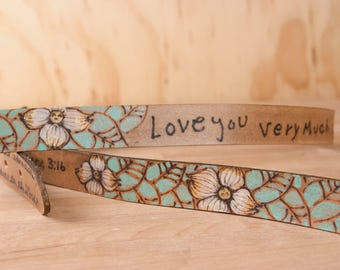 Handwriting Keepsake  - Mandolin Strap with Custom Inscription in Your Handwriting - Sue pattern - Leather with Flowers and Butterflies