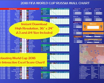 World Cup 2018 Wall Poster (PST) and FREE Excel Score Chart