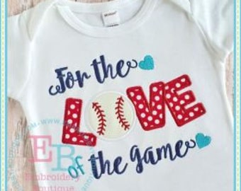 Personalized For the Love of the Game Baseball Softball Monogram Applique Shirt or Bodysuit Girl Boy