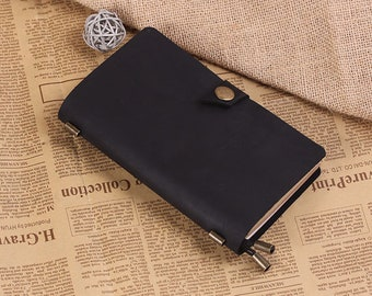 Leather Journal Midori Traveler's Notebook -Vintage Refilable Leather Daily Notebook-  Medium Size