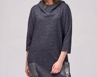 Jersey dress / Blue jersey dress / Hoodie dress / Handmade dress / Sweater dress / Long sweater