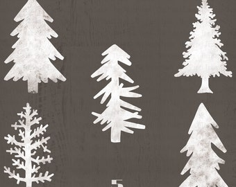 Rustic Pine Trees White Wood Christmas Laser Cut Cliparts - 5 Cliparts 300dpi Wooden Christmas Trees, Woodland - Instant Download - PNG