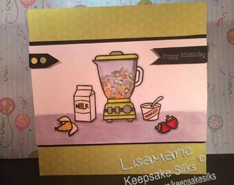 Handmade card, shaker card, birthday card, smoothies, smoothie card, shaker birthday card, foodie card, healthy card