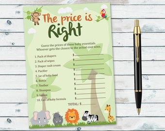 Price Is Right Baby Shower Game Printable, Safari Price Is Right, Jungle Baby Shower Game, Safari Animals Baby Shower Game Printables