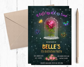 Be our guest invitation, Beauty and The Beast Invitation, Beauty and the Beast Birthday, Beauty and the Beast invites, Belle Invitation,