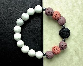 Lava Stone Jewelry, Aromatherapy, Diffuser Bracelet, Natural Jewelry, Diffuser Jewelry, Essential Oils, EO Bracelet, Lava Rocks, Howlite