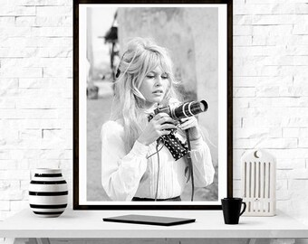 Brigitte Bardot Camera , Fashion photography , Vintage French Actress , Poster, Gift, home decor, model,