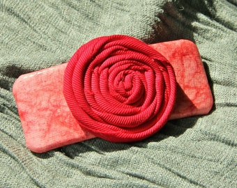 Coral and Red Barrette