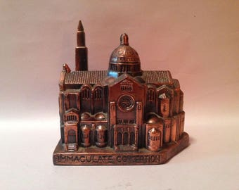 """Vintage Metal Souvenir Building Immaculate Conception Washington D.C 6""""x4""""x5"""" Miniature"""