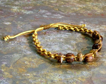 Yellow and Brown Macrame Bracelet ~ Hemp Bracelet with Wood Beads ~ Adjustable Friendship Bracelet ~ UNISEX Style