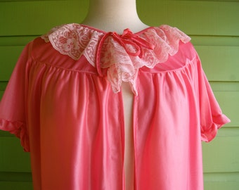 Bright Pink Vintage Robe with Ruffle