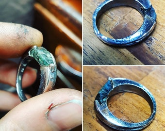 UnEarthed sterling silver and green sapphire ring