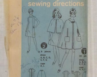 Simplicity 7544, size 14 Dress with Princess Sems and Lined Cape 1967 No Envelope