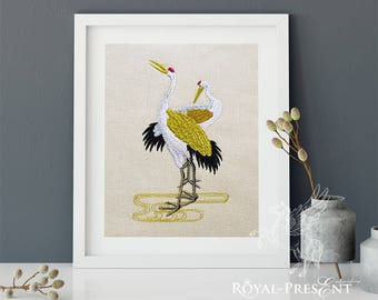 Japanese Cranes Machine Embroidery Design - 3 sizes