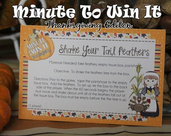 Minute To Win It Thanksgiving  Edition Printable - Family Game Night, Classroom Party Thanksgiving Party INSTANT DOWNLOAD