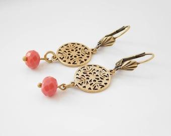 PRETTYBOHO dangling earrings bronze coral