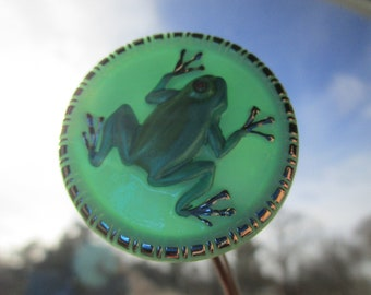 """0341 - Large Glass Spunky Frog Looking Back at You Modern Button, 1-7/16"""""""