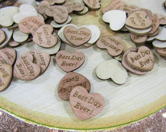 "100 ""Best Day Ever!"" Hearts ~ 1"" Wood Hearts ~ Wedding Decor ~ Wedding Confetti ~ Wooden Confetti ~ Summer Wedding"