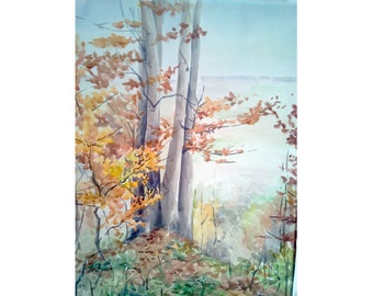 Original Watercolor Landscape painting, Trees painting, Trees watercolor painting, Realistic painting, Autumn landscape painting wall art