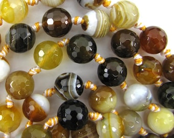 "12mm faceted botswana agate round beads 7"" strand 12 pcs 12359"