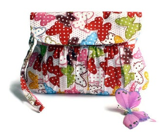 Colorful Butterfly Gathered Clutch Purse Cotton Screenprint