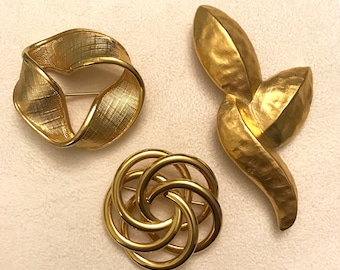 Vintage Napier Gold Tone Brooch Lot of Three