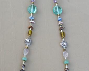 Aqua-Accented Beaded Necklace With Semi-Precious Stones & Glass