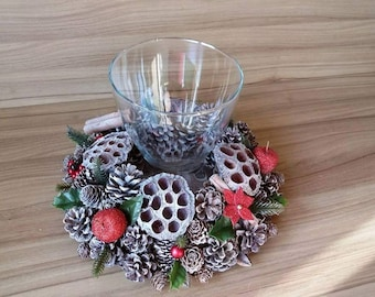 Pine Cone Christmas Table Decoration - Candle Vase
