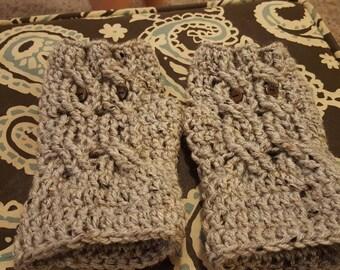 Owl wrist warmers - owl fingerless gloves - owl gloves - wrist warmers - fingerless gloves