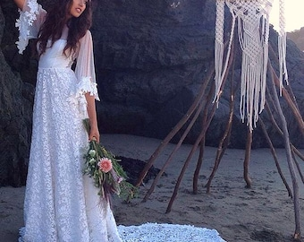 Boho Wedding Dress with Sweetheart Neckline, Dotted Tulle Flared Sleeves, and a Beautiful Lace Train - Rhiannon Dress