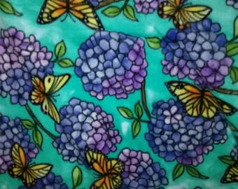 Butterflies with Purple Flowers Fleece Fabric