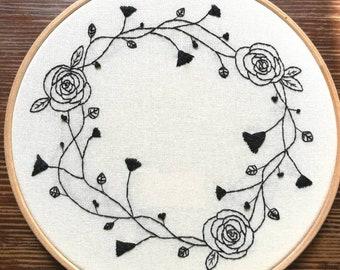 Hand Embroidered Hoop - 8 inch hoop - Black Work Flowers