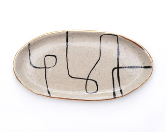 CONTINUUM JEWELLERY TRAY - Gold Rim - Hand Painted - Stoneware Clay