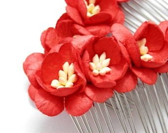 Red Cherry Blossom Floral Hair Comb Set of Two Bridal Flower Accessory